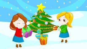 Happy christmas friends stock photo