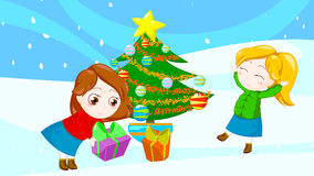 Happy christmas friends royalty free stock images