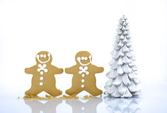 Happy Christmas gingerbread men cookies Stock Images