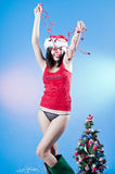 Happy Christmas girl Stock Images
