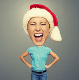 Happy christmas girl with big head Royalty Free Stock Photo