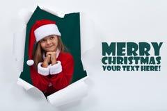 Happy christmas girl daydreaming Stock Photos