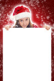 Happy Christmas Girl holding blank banner Royalty Free Stock Photos