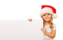 Happy christmas girl with message board Stock Image