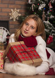 Happy Christmas Girl with Presents Stock Photos