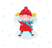 Happy christmas girl in red costume making angel Stock Image