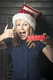 Happy christmas girl Stock Photo