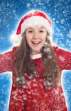 Happy Christmas girl with snowflakes Royalty Free Stock Photos