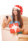 Happy christmas girl with wineglass Royalty Free Stock Photo