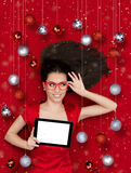 Happy Christmas Girl With Tablet Stock Images