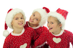 Happy Christmas girls Stock Photos