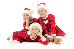 Happy Christmas girls Stock Photography