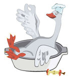 Happy Christmas goose in a chef's hat with an apple Stock Images