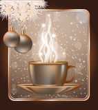 Happy Christmas greeting card with  coffe cap Stock Photo
