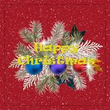 Happy Christmas greeting card with glitter, leaves and baubles. Stock Photo