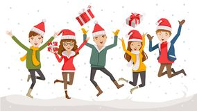 Happy christmas. Day Celebrating  together happy. Group of cartoon young people in Santa hats. Jump and throw gifts on the sky in the snow in winter Stock Photography