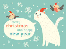 Happy Christmas and Happy New Year card with cute cats and birds in Santa hat. Vector illustration, cute cartoon animals, greeting cards with text on clouds Royalty Free Stock Images