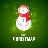 Happy Christmas. Happy New Year. Merry christmas. Snow man wearing cap on green background. For web design and application interface, also useful for vector illustration