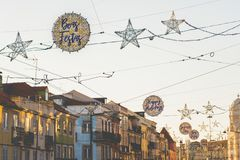 Happy Christmas holidays signs, lights and decorations, Belem, Lisbon, Portugal stock photography