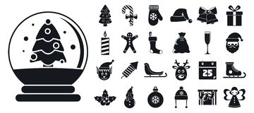 Happy christmas icon set, simple style royalty free illustration