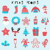Happy Christmas Icon Set Two Tone Stock Photography
