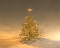 Happy Christmas II. A golden Christmas tree with blinking stars on it Royalty Free Stock Photography