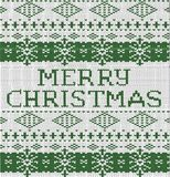 Happy Christmas inscription. Knitted pattern winter sweater blue. Merry christmas vector illustration Stock Photos