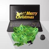 Happy Christmas inscription with Santa. Claus golden cart. winnings online casino. large jackpot. money paper bundles a lot. illustration for your design Stock Photos
