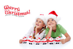 Happy christmas kids stock images