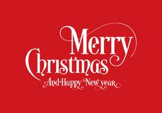 Happy Christmas Lettering Calligraphy Text Art Design With Red Background. Merry Christmas Text Design Vector Logo, Typography royalty free illustration