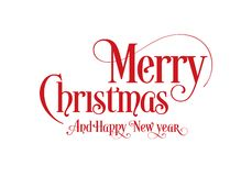 Happy Christmas Lettering Calligraphy Text Art Design With White Background. Merry Christmas Text Design Vector Logo, Typography stock illustration