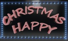 Happy Christmas light frame, 3d render. Ing Royalty Free Stock Photography