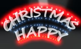 Happy Christmas lighted text, 3d render. Ing Stock Images