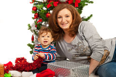 Happy Christmas mother and baby Royalty Free Stock Images