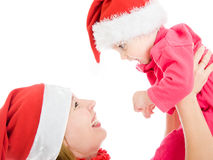 Happy Christmas mother and daughter Royalty Free Stock Photos
