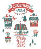 Christmas market poster. Happy Christmas and Happy New year illustration. Lettering signs for the shops. Shops with hot drinks, food, masks, carousel with horses Royalty Free Stock Photography