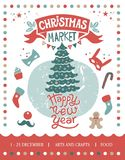 Christmas market illustration. Happy Christmas and Happy New year illustration. Christmas tree with decorations surrounded by Christmas decorations: candy Stock Photography
