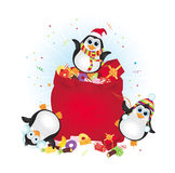 Happy Christmas penguins Stock Photos