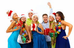 Happy Christmas people group. Happy people group isolated on white background. Christmas party Royalty Free Stock Photo