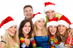 Happy Christmas people group. Happy people group isolated on white background. Christmas party Stock Images
