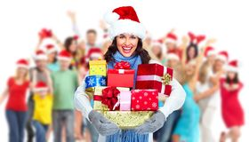 Happy Christmas people group. Happy people group isolated on white background. Christmas party Royalty Free Stock Photography