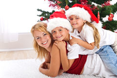 Happy christmas people heap Stock Photography