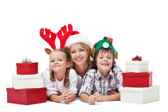 Happy christmas people with presents Royalty Free Stock Photography