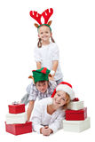 Happy christmas people with presents Royalty Free Stock Images