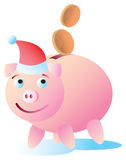 Happy Christmas Piggy Bank Royalty Free Stock Photography