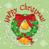 Happy Christmas poster with bell Royalty Free Stock Photos