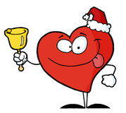 Happy Christmas red heart ringing a bell. Red philanthropist heart character ringing a bell for donations on christmas of hat royalty free illustration