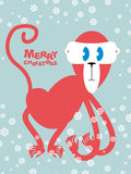 Happy Christmas. Red monkey symbol of new year. Cute primacy wit Royalty Free Stock Image