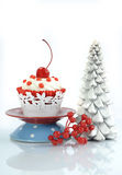 Happy Christmas red velvet cupcake Royalty Free Stock Image