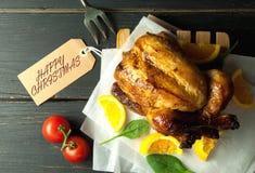 Happy christmas roast turkey Stock Image